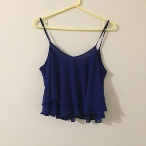 Blue Ruffle Strappy Tank Top